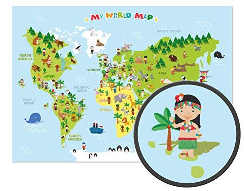 ARTBAY El mapamundi para niños - XXL Póster - 118,8 x 84 cm - Mapa del mundo para niños con personajes alegres y animales - Aprender los continentes diferentes, las culturas y los animales en el mundo