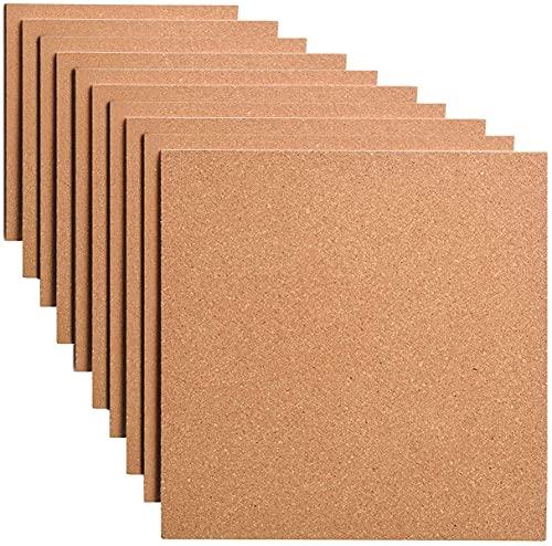Láminas Corcho Pared. 10 UNIDADES 300x300mm. Planchas Autoadhesivas para pared suelo decoracion aislante termico acustico manualidades bricolaje corchera (300x300x4mm)