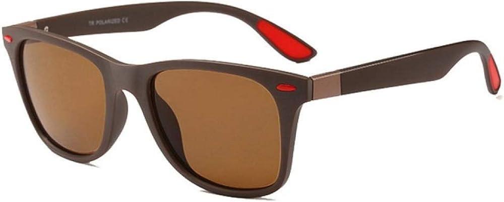 KJGTRMen's sunglassesMARQUE Classique Lunettes de Soleil Polarisées Hommes TR90 Cadre Carré Sport Lunettes de Soleil Mâle Conduite s UV400 Lunettes C3 Brown Brown