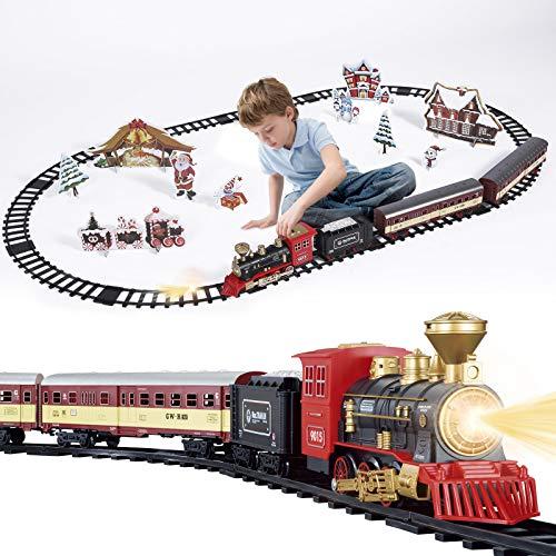 SNAEN Train Sets w/ Steam Locomotive Engine, Cargo Car and...