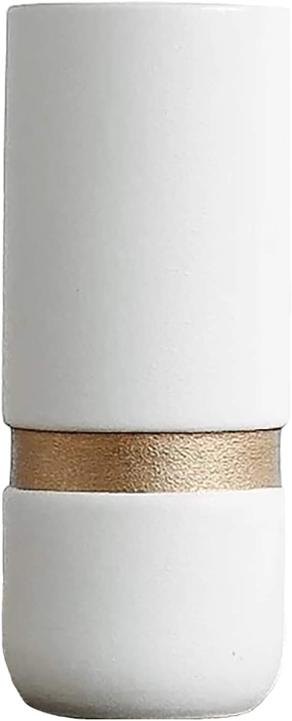 Modern Simple Ranking TOP17 Ceramic 100% quality warranty! Vase LBHDMZJK Unique Golden Vases White