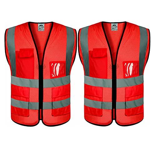 evershare Sicherheitswesten aus atmungsaktivem Netzstoff, Klasse 2, hohe Sichtbarkeit, reflektierende Streifen, rot, XX-Large