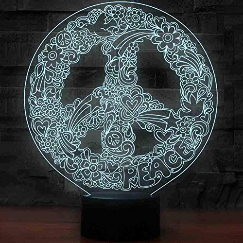 Festival 3D Art Hippie Peace Sign Shape Night Lights For 7 Colors Changing Led Lighting Creative Office Decor Usb Table Lamp