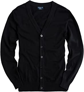 Matchstick Men's Button Through V Neck Knitted Cardigan #Z1522(1613 Black,UK XS (Tag Size M))