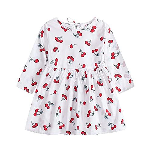 Vestidos de bebé para niñas - Ropa de bebé Niñas - Vestido de manga larga de una pieza con estampado floral de princesa vestido de otoño para niños (6 meses a 3 años), blanco, 2-3 Años