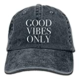 KOBG Good Vibes Only Cotton Adjustable Jean Cap Leisure Hats ForAdult