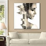 ganlanshu Pittura Senza Cornice Donna architettura Arte Ritratto Poster Astratto Moderno Arte della Parete Camera da Letto Soggiorno decorazioneZGQ4985 60X60cm