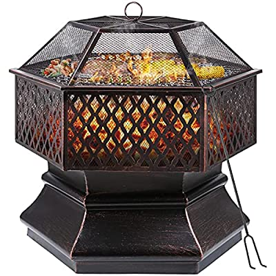 GARTIO Fire Bowl, 76 x 76 x 63 cm, 30 Inch Hexagonal Fire Pit, Garden, Fire Basket with Grill Grate, Spark Guard Grate, Poker & Charcoal Grate, for Heating/BBQ, Fire Bowls for the Garden, Beach, Patio by GARTIO