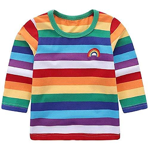 NOBRAND Camisetas paraniñospequeños,niños, niñas, niños, Arcoiris, Camisetascon Cuello Redondo parabebés, Disfraces, Trajes a Rayas, Ropa