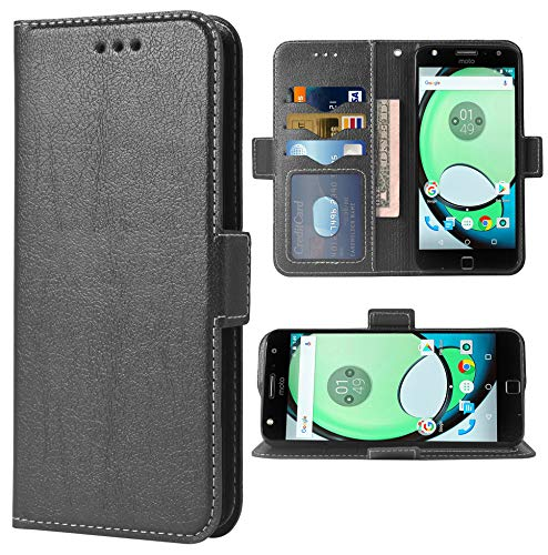Phone Cover for Moto Z Play Folio Flip Wallet Case,PU Leather Credit Card Holder Slots Full Body Protection Kickstand Hard Hybrid Protective Phone Cover for Motorola MotoZPlay MotoZ ZPlay Case Black