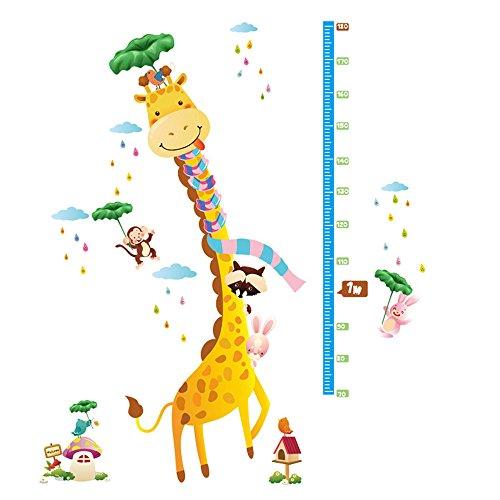 winhappyhome Girafe Enfants Hauteur Sticker croissance mesure Stickers Art Mural pour enfants Chambre Salon Chambre fond amovible Decor Nail Art