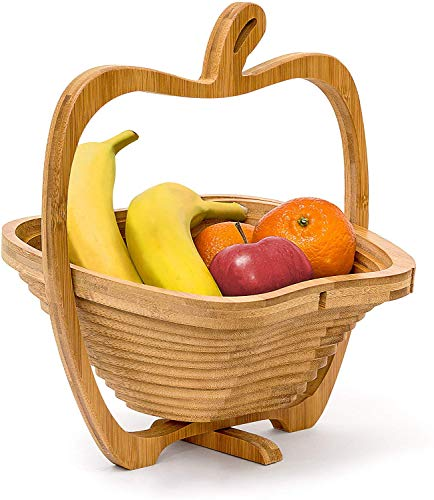 Relaxdays Corbeille à fruits en forme de pomme pliable Bambou Porte-fruits accordéon Bois HxlxP: 30 x 27 x 22,5 cm, nature