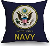 Pillowcase with Zipper Us Navy United States Navy Dark Blue Pattern Decorative Pillow Case Home Decor Square 18 X 18 Inch