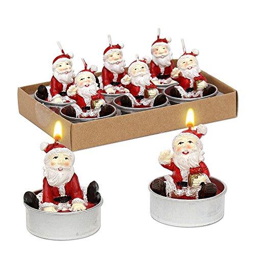 Dekohelden24 Set di 6 lumini natalizi con Babbo Natale, dimensioni di ogni lumino (L x P x A): 4 x 4 x 6 cm.