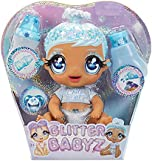 MGA'S Glitter BABYZ January Snowflake Baby Doll with 3 Magical Color Changes / Blue Hair Doll with Winter Snowflakes ON The Outfit and Reusable Diaper, Bottle and Pacifier / Ages 3 and UP