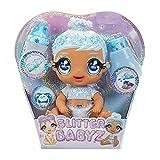 Glitter Babyz Muñeca January Snowflake - Con 3 cambios de color mágicos, pelo azul y vestido de invierno - Incluye pañal, biberón y chupete reutilizables - Para coleccionar - Edad: 3+ años