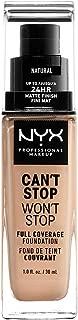 Nyx Professional Makeup Base Maquillaje Liquida Can't Stop Won't Stop, Tono Natural