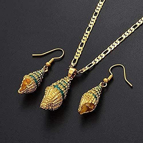 Collar con colgantes de concha de esmalte verde, collares, pendientes, conjuntos de joyas étnicas de Papua Guinea para mujer, collar de 60Cm X 3Mm