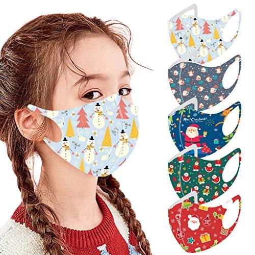 Sannysis 5STK Mundschutz Kinder Halloween Weihnachten Maske Cartoon Druck Atmungsaktive Baumwolle Stoffmaske Waschbar Tiermotiv Jungen Mädchen Bandana Halstuch (C)