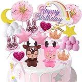 Buon compleanno arcobaleno Toppers Buon compleanno arcobaleno Tema belloa Forma di Torta Toppers Adatti per Torte Dessert Decorazioni per Matrimonio o Festa di Compleanno 16 Pezzi
