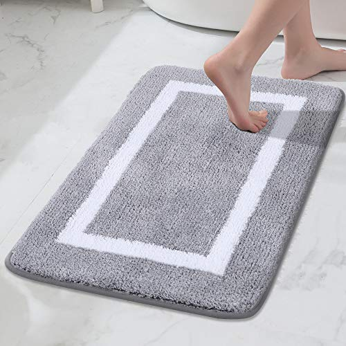 "Luxury Bathroom Rugs, Super Soft Microfiber Bath Shower Mat, Machine Wash Dry, Non Slip Absorbent Shaggy Bath Rug for Bathroom, Living Room and Laundry Room (20"" x 32"", Grey)"