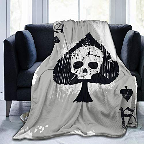 Belgala Blanket Ace of Spades with Skull Flannel Fleece Throw Blankets for Baby Kids Men Women,Soft Warm Blankets Queen Size and Throws for Couch Bed Travel Sofa 80'X60'