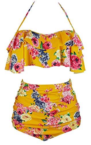 COCOSHIP Mustard Yellow & Pink Bold Bloom Floral Vintage Flounce Falbala High Waist Bikini Set Swimsuit Outdoor Bathing Suit XXXXL