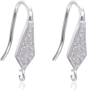 4pcs Sterling Silver Earring Hooks Dangle 16 Created Diamonds Briolette Ear Wire Earwire Connectors for Earrings Jewelry Making SS467