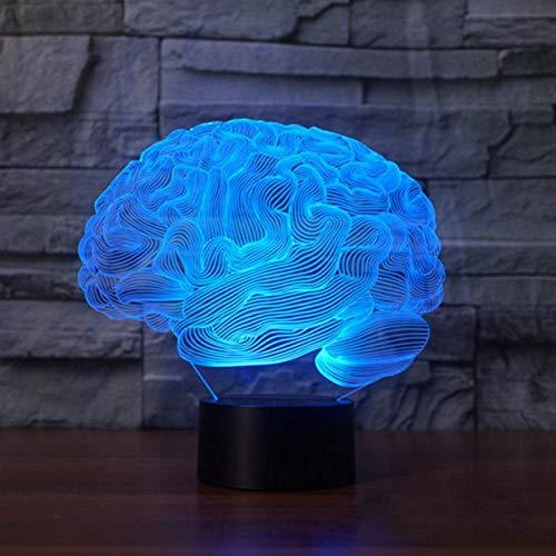 Lámpara de ilusión 3D Interruptor táctil que cambia de color en forma de cerebro Luz de noche LED Lámpara de escritorio acrílica Lámpara de atmósfera Novedad Iluminación-A