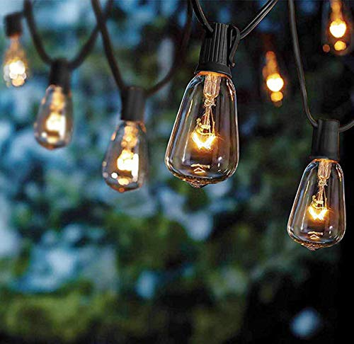 SkrLights Outdoor Patio String Lights,10Ft Edison Bulb String Lights for Patio Garden Porch Backyard Party Deck Yard(Plus 1 Extra Bulbs)-Black