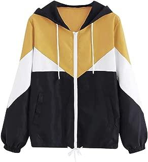 Sunhusing Women's Autumn New Colorblock Long Sleeve Thin Drawstring Hooded Pullover Zipper Stitching Jacket