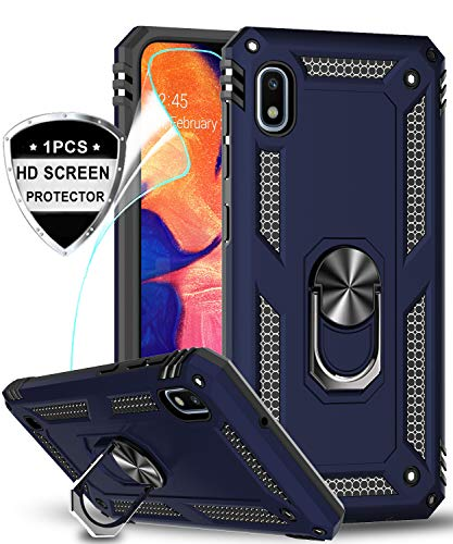 LeYi Samsung Galaxy A10e Case (NOT FIT A10) with HD Screen Protector, Military Grade Armor Full-Body Protective Phone Cover Case with 360 Degree Rotating Holder Kickstand for Samsung A10e, Blue