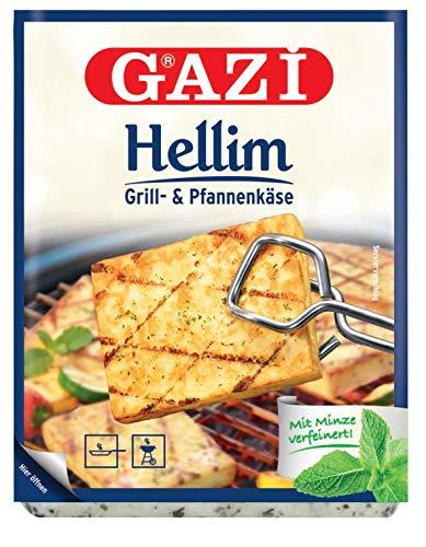 Gazi Hellim Grill- und Pfannenkäse - 10x 250g Vakuum - Pfanne Grillkäse Grill Ofenkäse Backkäse 45% Fett i. Tr. Schnittkäse Käse, mit Minze verfeinert, mikrobielles Lab Halal vegetarisch glutenfrei