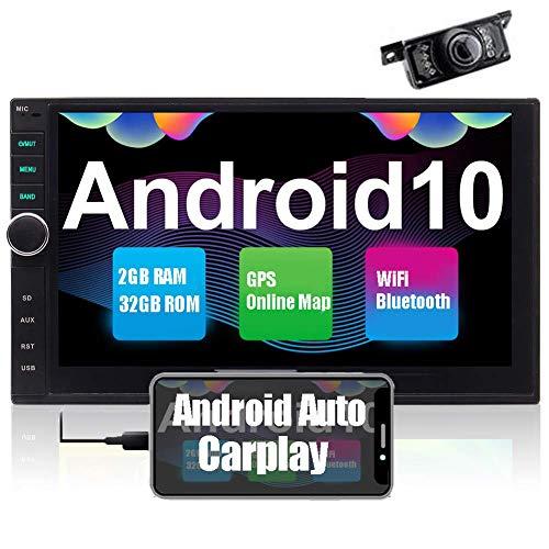 Android Auto Moniceiver Autoradio Mit Bildschirm und Navi Carplay 2din Radio Bluetooth Navigation 7 Zoll Doppel 2 Din Multimedia FM/AM/RDS Touchscreen WiFi USB SD 4K Video Mirrorlink Rückfahrkamera