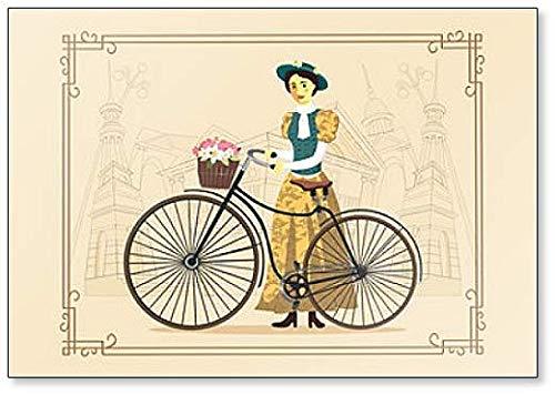 Elegante dame op een oude fiets in vintage kostuum Illustratie Koelkast magneet