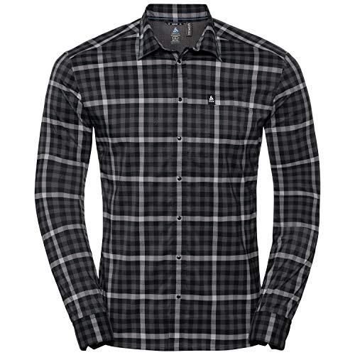 Odlo 527512 Chemise Homme Odlo Graphite Grey - Odlo Concrete Grey - Black - Check FR : S (Taille Fabricant : S)