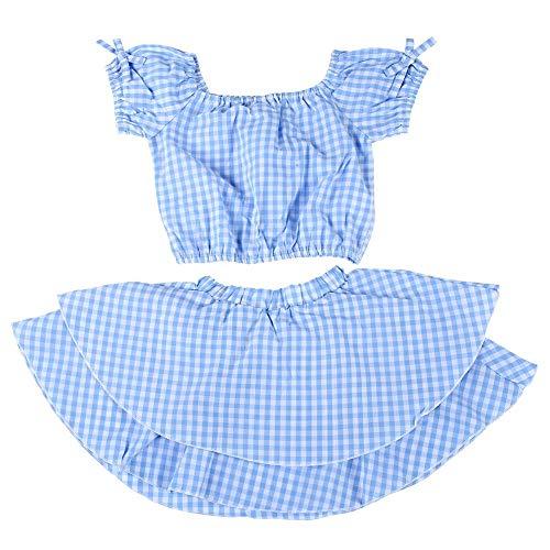 Baby meisjes blauw-wit geruit jurk outfits, 2 stuks off-schouder rok tops + jurk outfit set zomerkleding voor 0-4 jaar oude baby meisjes 80
