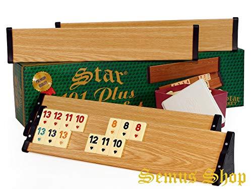 Semus Star 101 Plus Rummy Set Okey - hochwertige Verarbeitung & Materialien (Kunststoff-Spielbänke mit Holz-Furnier - leicht und stabil & Melaminsteine) (Buche)