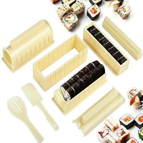 LEMESO 10 PZ Sushi Maker Kit Completo Professionale Creazione Produzione Preparazione Per Principianti Fai da Te DIY Strumento Accessori Utensili Cucina Casa Uso Domestico Stampo Rullo Riso Regalo