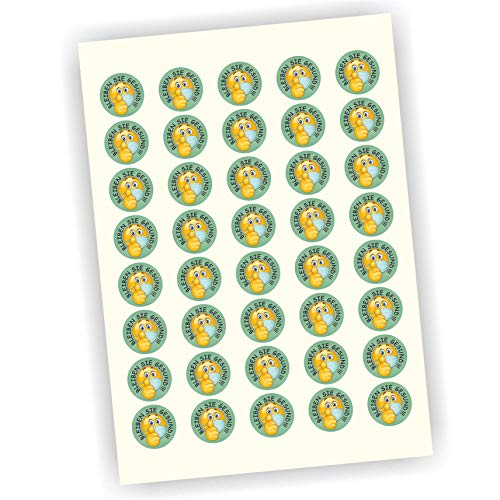 Play-Too 40 Aufkleber Etiketten Bleiben Sie gesund Smiley Daumen hoch 30mm