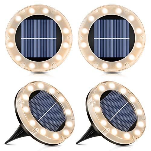 Lámpara solar de suelo – 12 luces LED solares para exteriores, blanco cálido, lámpara solar para jardín, IP65 resistente al agua, 4 unidades, lámpara exterior para entrada/césped/acera/patio.