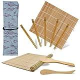 Aiyivve Kit Sushi, Sushi Kit Completo 10 Pezzi Kit per Fare Sushi in Bambù Kit Sushi Include 2 Tappetini in bambù, 5 Paia di Bacchette, 1 Spatola per Riso, 1 Coltello, 1 Sacco, Kit Sushi Fai da Te