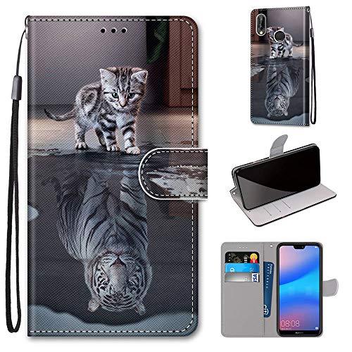 Miagon Flip PU Leder Schutzhülle für Huawei P20 Lite,Bunt Muster Hülle Brieftasche Case Cover Ständer mit Kartenfächer Trageschlaufe,Katze Tiger