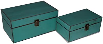 Cheung's FP-3992-2T Simple Wooden Treasure Box - Teal44; Set of 2