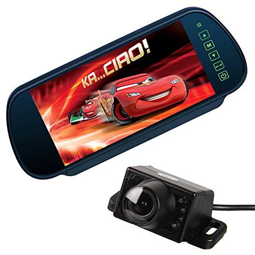 Pathson 7 Pouces TFT LCD Moniteur de Voiture Rétroviseur + Caméra de Recul 7 IR Lampes Jour/Nuit Pleine Couleur Grand Angle Etanche