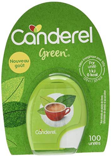 CANDEREL - Green – Edulcorant Naturel - le Gout du Sucre Sans Calorie - 100 Comprimés – Format Pratique