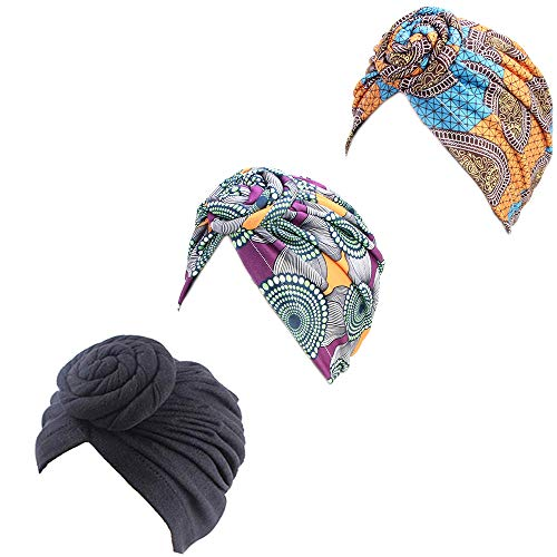 3Packs Women Turban African Pattern Knot Headwrap Sleep Beanie Pre-Tied Bonnet Chemo Cap Hair Loss Hat Wrap Stretch Long Hair Scarf Turban Tie Head