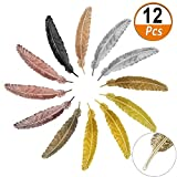 12 pieces metal feather bookmarks, classical vintage assorted metal bookmark, feather shape book