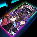 Alfombrillas de ratón Alfombrilla de ratón de Impacto Genshin RGB XL Alfombrilla de ratón Grande Accesorios para Juegos Alfombrilla de Teclado de Ordenador Led Larga de Anime-50x100x0.4cm