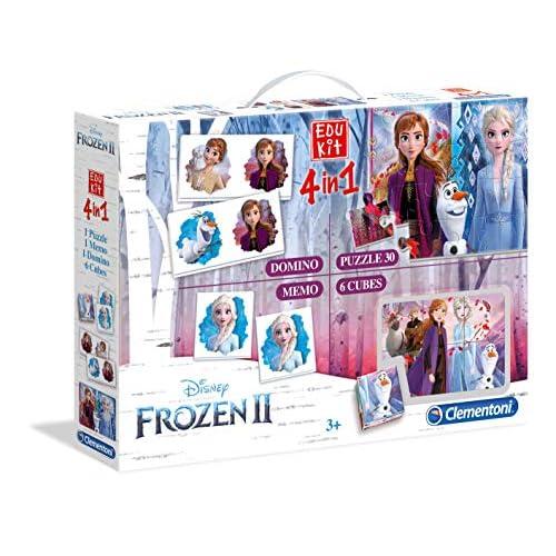 Clementoni - 18059 - Edukit 4 in 1 - Disney Frozen 2 - set di giochi (memo, domino, cubi, puzzle 30 pezzi) - gioco educativo 3 anni, gioco memory, puzzle bambini - Made in Italy